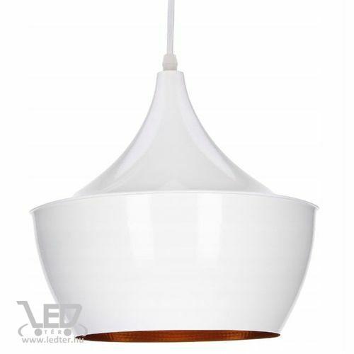Modern lámpa függeszték búra forma fehér - arany