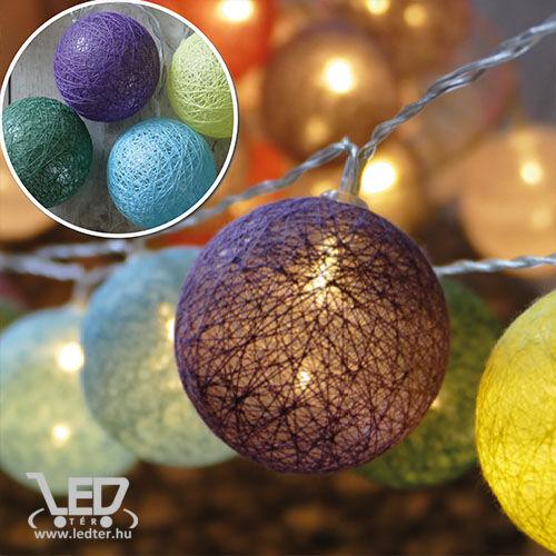 20 Ledes pamut labda fényfüzér, meleg fehér leddel, / sárga, zöld, kék, lila/, időzítős!