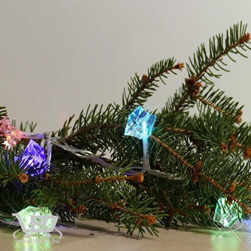 Karácsonyi gyémánt kül- és beltéri füzér 80 db, átlátszó fehér gyémánt színes RGB LED