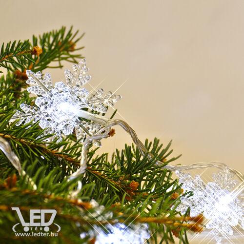 Karácsonyi hópihe IP44 kül- és beltéri füzér 80 db hideg fehér LED
