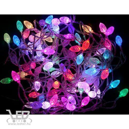 Karácsonyi toboz kül- és beltéri füzér 80 db átlátszó fehér toboz színes RGB LED