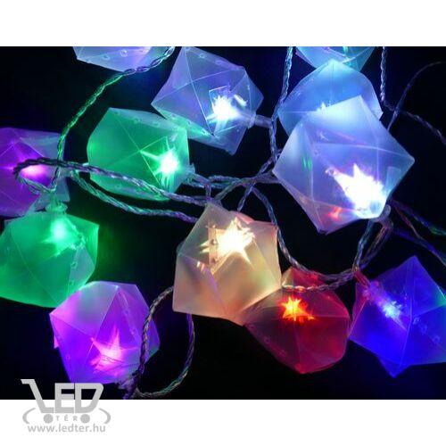 Karácsonyi ajándékdoboz 3D-s csillaggal, kül- és beltéri füzér, 30 db színes RGB LED