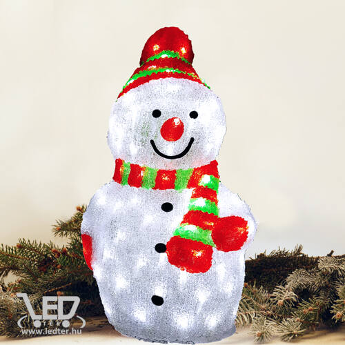 Karácsonyi figura hóember 27x29x58 cm 96 db hideg fehér LED