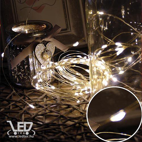 Karácsonyi mikro- LEDes Nano fényfüzér, IP44, kültérre is! 100 db meleg fehér LED