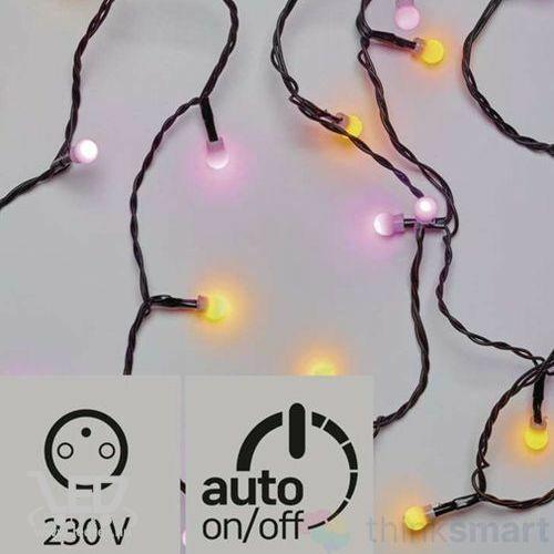 Karácsonyi LED fényfüzér, IP44, kültérre is! 40 db kis golyó sárga-pink